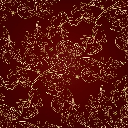 Red gold floral vintage seamless pattern.  Vector