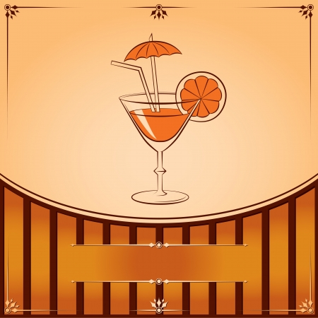 Cocktail glass with orange. Vector graphic illustration with place for text Stock Vector - 18173317