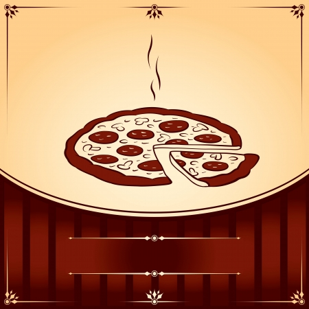 pizza place: Hot Pizza. graphic Illustration with place for text Illustration