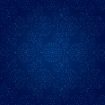 amazing wallpaper: Floral vintage seamless pattern on a blue background  Illustration