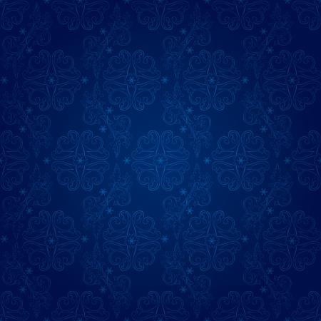 royal blue background: Floral vintage seamless pattern on a blue background  Illustration