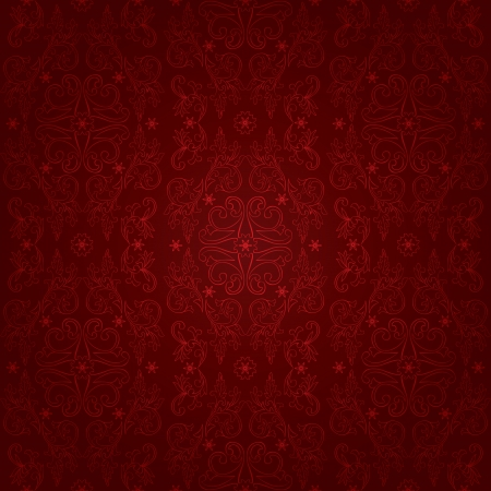 Floral vintage seamless pattern on a red background  Vector background Vector