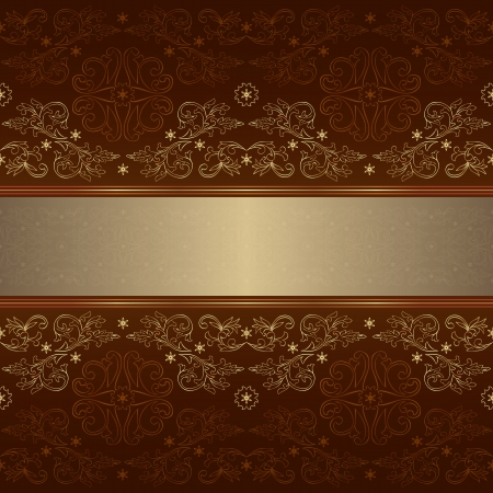 Template with ornate floral seamless pattern on a brown background.  Vector