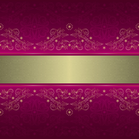 royal rich style: Template with ornate floral seamless pattern on a pink background.
