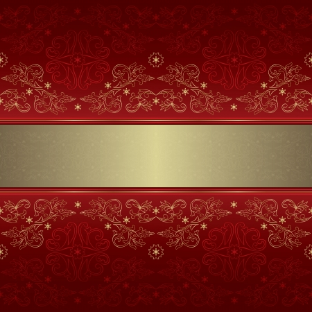 royal rich style: Template with ornate floral seamless pattern on a red background.