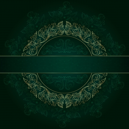 Floral gold frame with vintage patterns on green background.