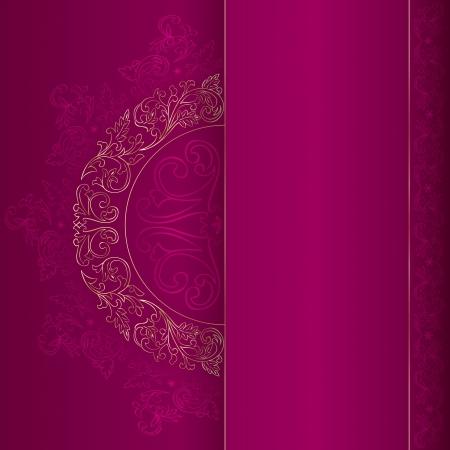 Gold vintage floral patterns on pink background.  Vector