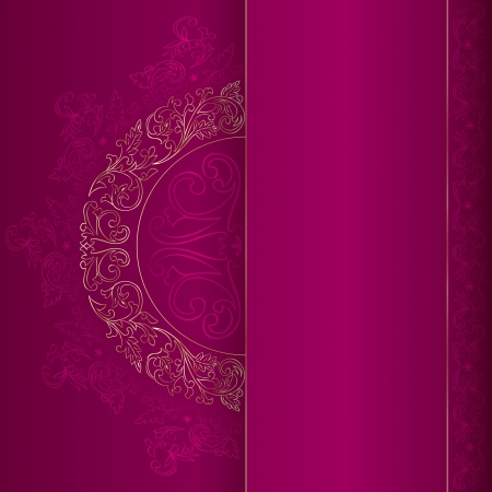 filigree background: Gold vintage floral patterns on pink background.