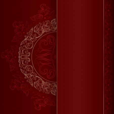 Gold vintage floral patterns on red background. Vector