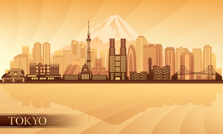 gold coast: Tokyo city skyline. silhouette illustration