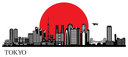 Tokyo city silhouette. skyline illustration