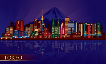 Tokyo city night skyline. Vector silhouette illustration