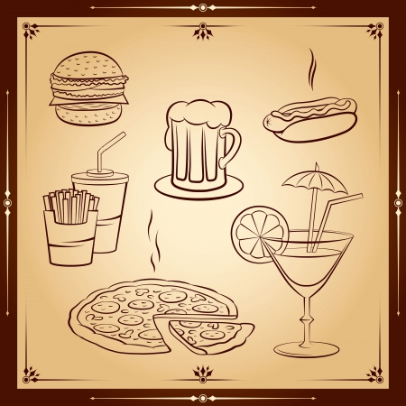 Fast food icon set. Vector illustration. Vector