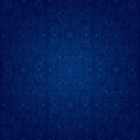 royal rich style: Vintage floral seamless pattern on blue  Vector background