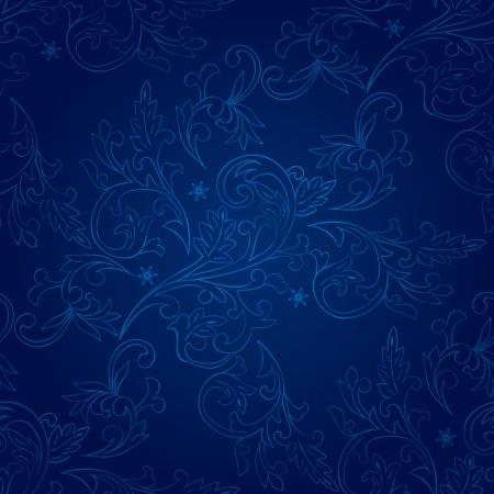 Vintage floral seamless pattern on blue  Vector background