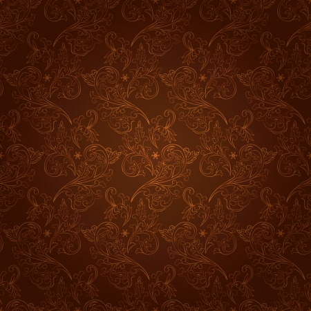 Vintage floral seamless pattern on brown  Vector background Vector