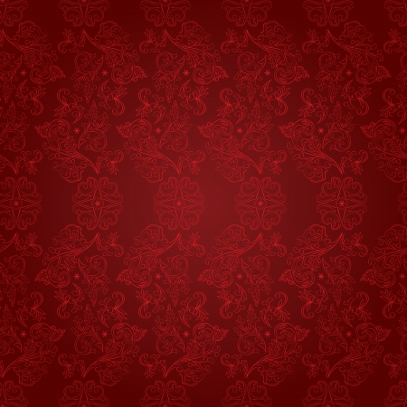Vintage floral seamless pattern on red  Vector background Vector