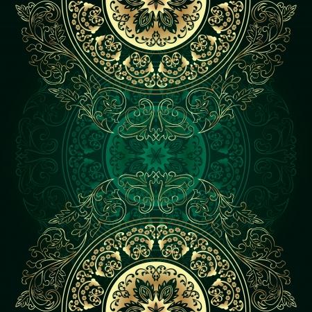 gold seamless: Vintage floral background  illustration