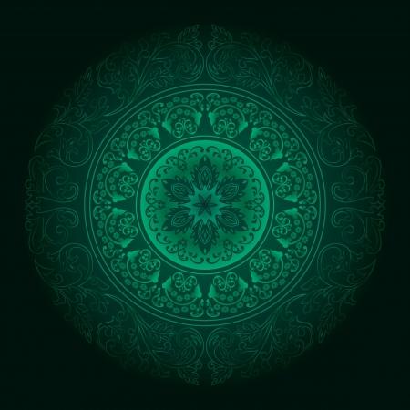 Green vintage floral background  illustration  イラスト・ベクター素材