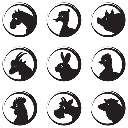 Farm animals and birds vector silhouette icon set Vector
