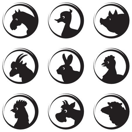 Nutztiere und Vögel Vektor-Silhouette Icon-Set Standard-Bild - 18568801