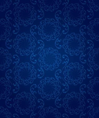 royal blue background: Vintage floral seamless pattern background