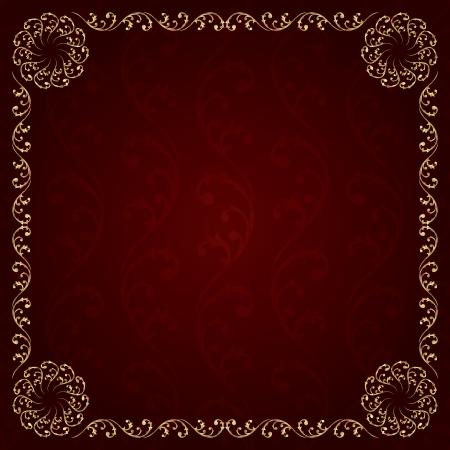Gold frame with vintage floral elements. Vector background  イラスト・ベクター素材