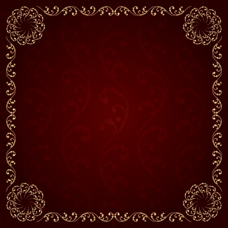 royal rich style: Gold frame with vintage floral elements. Vector background Illustration