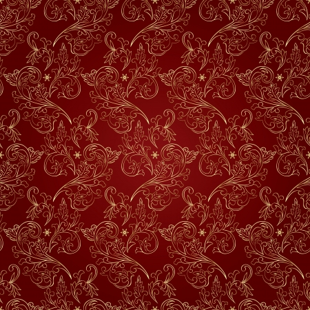 Floral vintage seamless pattern on red background  illustration Vector