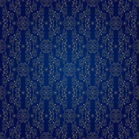 royal blue background: Floral vintage seamless pattern on blue background  illustration