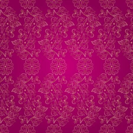 Floral vintage seamless pattern on pink background  illustration  Vector
