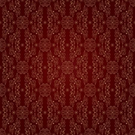 Floral vintage seamless pattern on red background  Vector illustration Vector