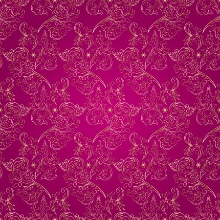 Floral vintage seamless pattern on pink background  Vector illustration