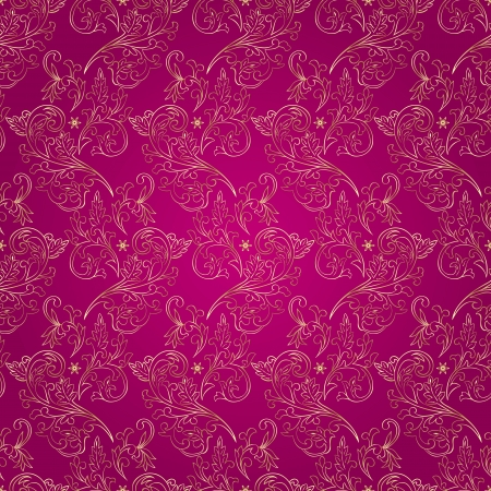 Floral vintage seamless pattern on pink background  Vector illustration  Vector