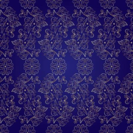 Floral vintage seamless pattern on violet background  Vector illustration  Vector