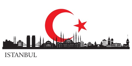 detailed view: Istanbul city silhouette  Vector skyline illustration