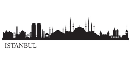 panoramic view: Istanbul city silhouette  Vector skyline illustration
