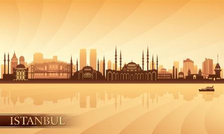 Istanbul city skyline  Vector silhouette illustration     Ilustração