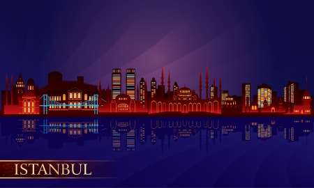 tall buildings: Istanbul city night skyline. Vector silhouette illustration