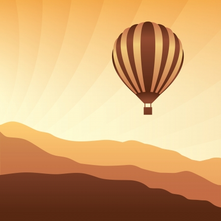 aerostat: Air balloon in the sky. Vector skyline illustration