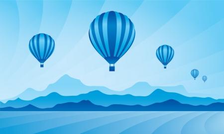 Air balloon in the sky. Vector