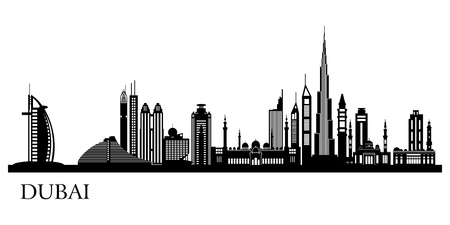 Dubai City skyline detailed silhouette.