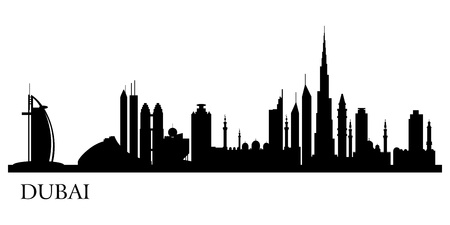 city panorama: Dubai city silhouette.