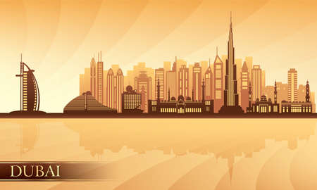 emirates: Dubai city skyline. Vector silhouette illustration