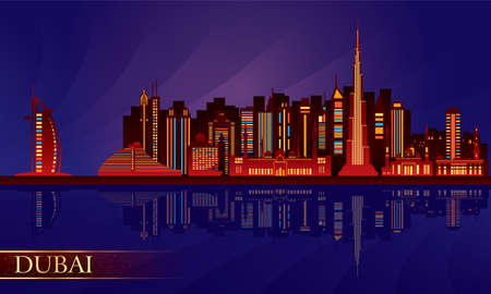 Dubai night city skyline.  Vector