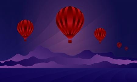 Air balloon in the night sky skyline illustration   Vector