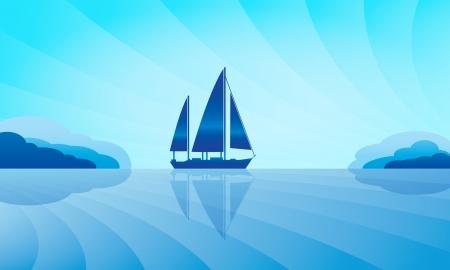 caravel: Sailing ship on skyline illustration   Illustration