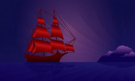 caravel: Sailing ship on the night skyline illustration