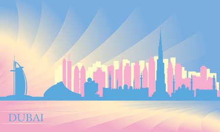 panorama city: Dubai city skyline silhouette illustration
