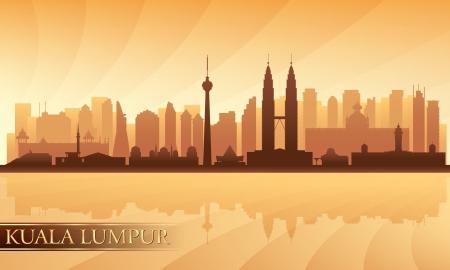 Kuala Lumpur Skyline Silhouette Illustration Standard-Bild - 20911449